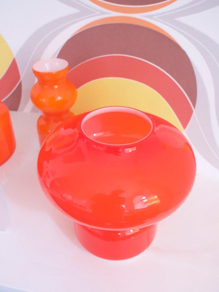 Italian Murano Cased Glass Space Age Orange Table Lamp Mazzega, 1970s For Sale
