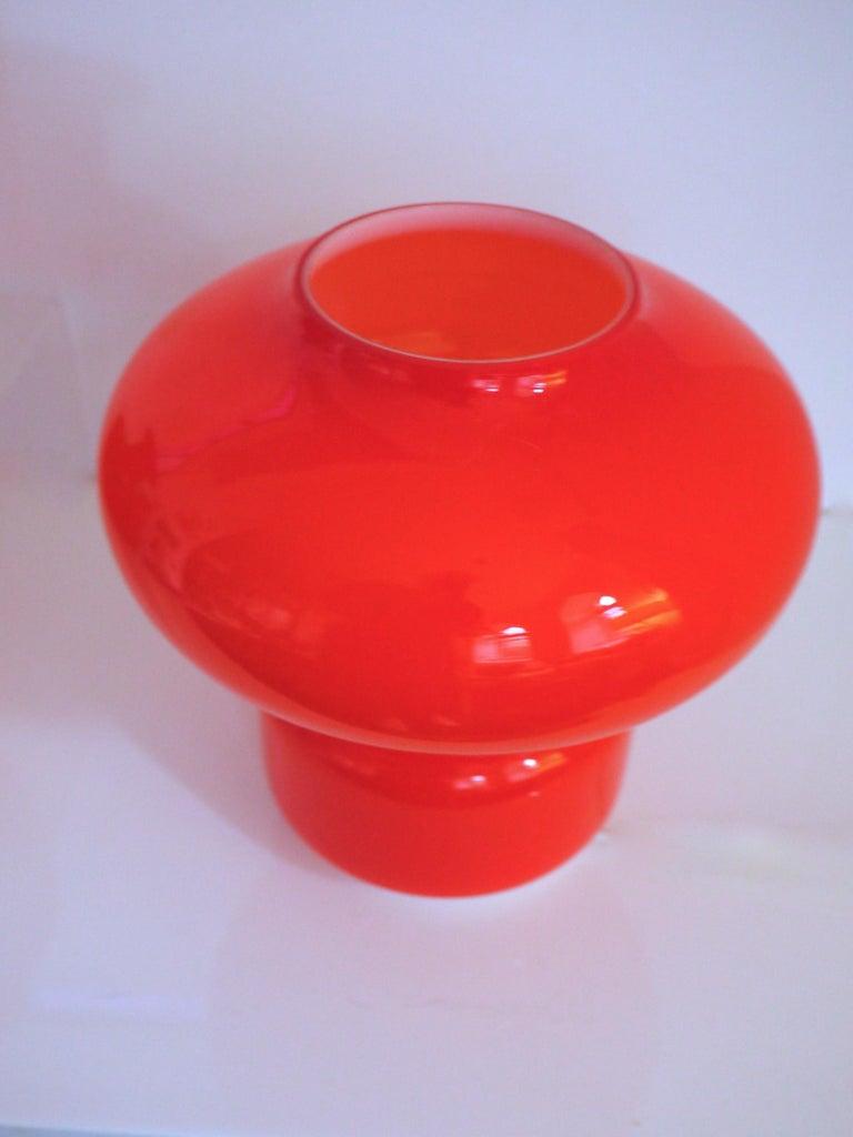 Late 20th Century Murano Cased Glass Space Age Orange Table Lamp Mazzega, 1970s For Sale