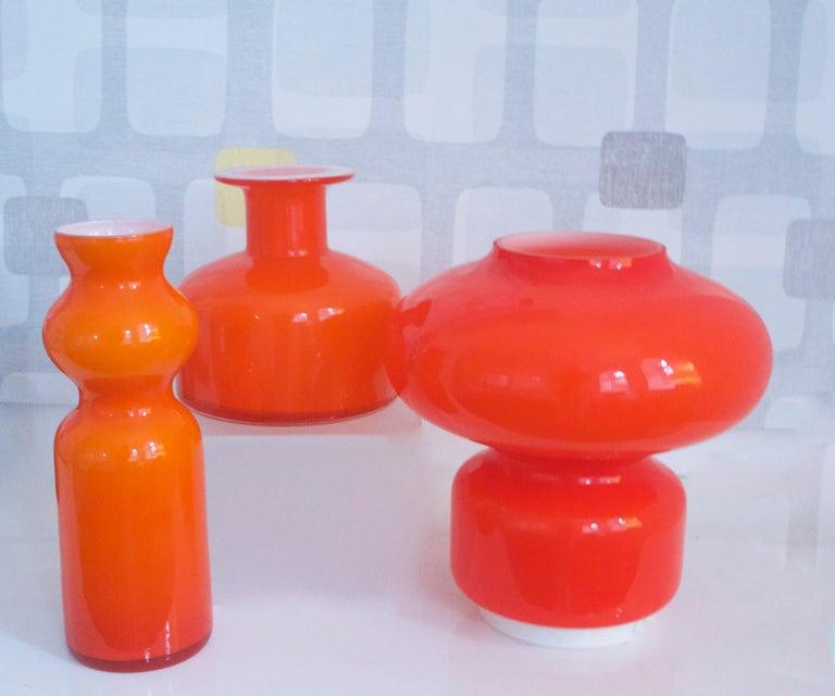 Blown Glass Murano Cased Glass Space Age Orange Table Lamp Mazzega, 1970s For Sale