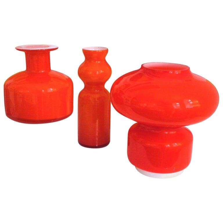 Murano Cased Glass Space Age Orange Table Lamp Mazzega, 1970s For Sale