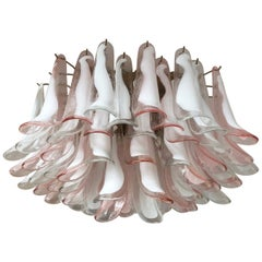 Murano Ceiling Lamp, 64 Trasparent and Pink Lattimo Glass Petal