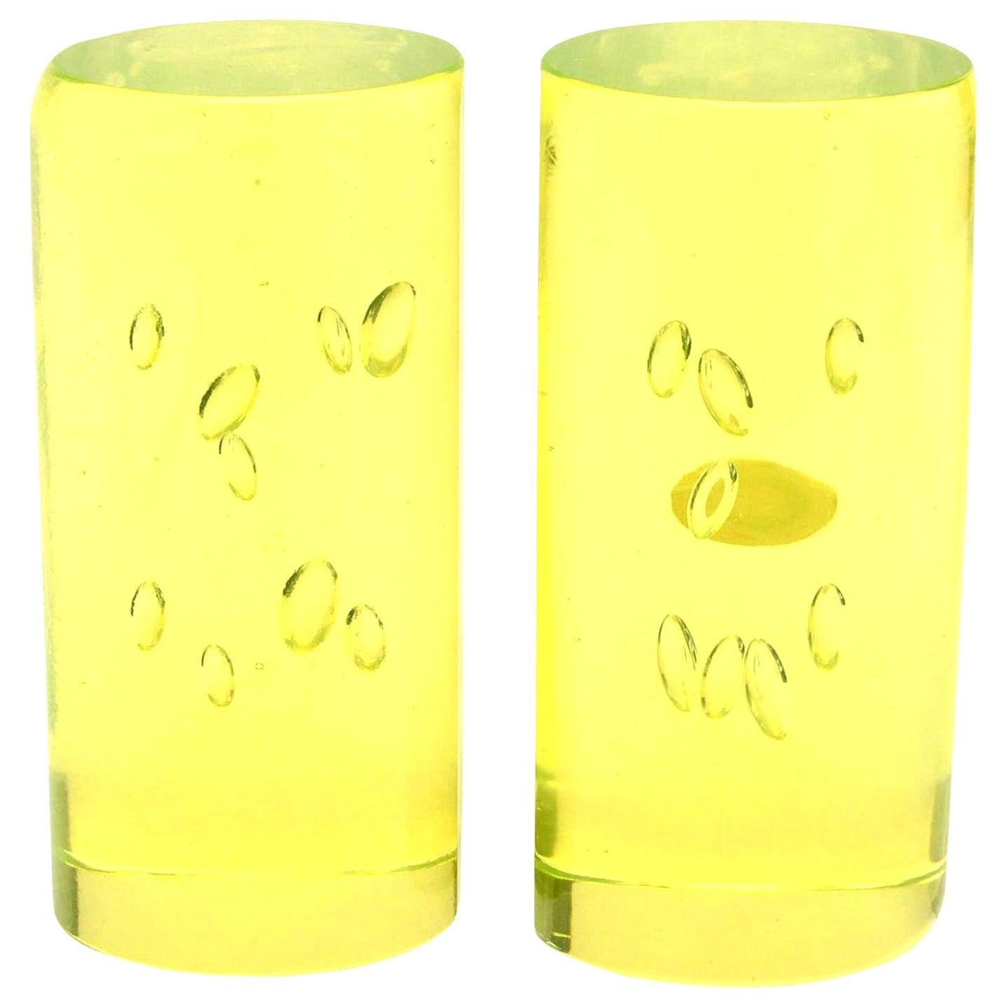 Murano Cenedese Chartreuse Yellow Bullecante Glass Bookends Pair of Vintage
