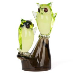 Murano Cenedese Owls on Perch Glass Sculpture, circa 1960