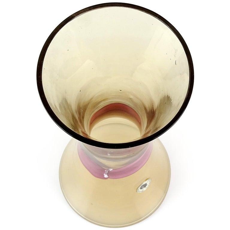 Mid-Century Modern Murano Champagne with Burgundy Ribbon Corseted Italian Art Glass Flower Vase For Sale