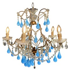 Murano Chandelier Blue Drops Glass, 1950s