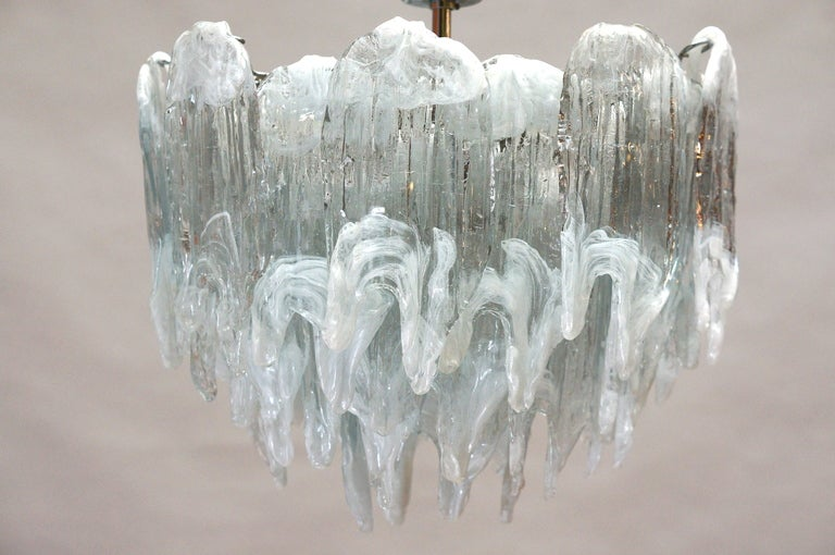 20th Century Murano Chandelier Ice Glass and Nickel, 1970 For Sale