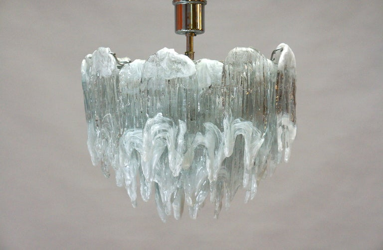 Murano Chandelier Ice Glass and Nickel, 1970 For Sale 1