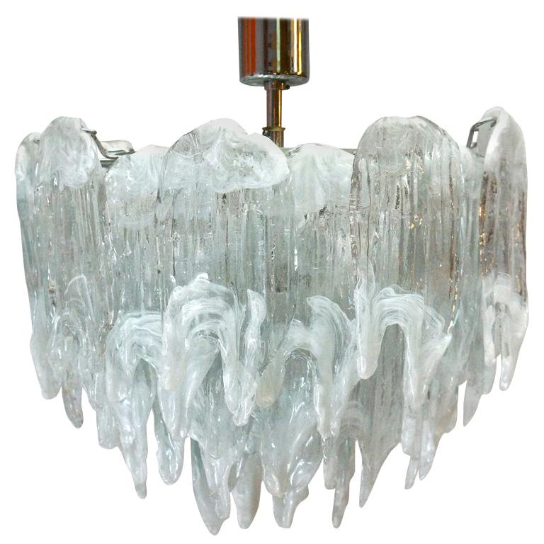 Murano Chandelier Ice Glass and Nickel, 1970 For Sale
