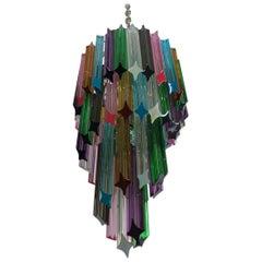 Murano Chandelier Multi-Color, 54 Quadriedri Prism, Mariangela Model