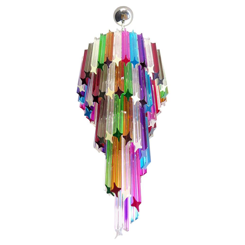 Murano Chandelier Multi-Color, 86 Quadriedri Prism, Mariangela Model