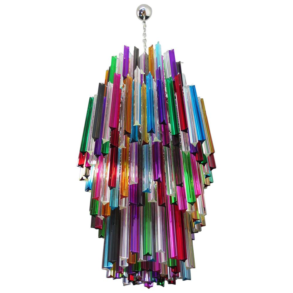 Murano Chandelier Multi-Color Triedri, 242 Prism, Mariangela Model