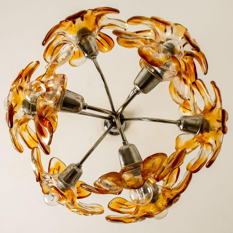 Murano Chandelier Orange Clear Glass, Chrome, by Mazzega, 1960s For Sale 5