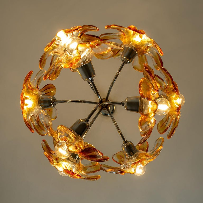 Murano Chandelier Orange Clear Glass, Chrome, by Mazzega, 1960s For Sale 10