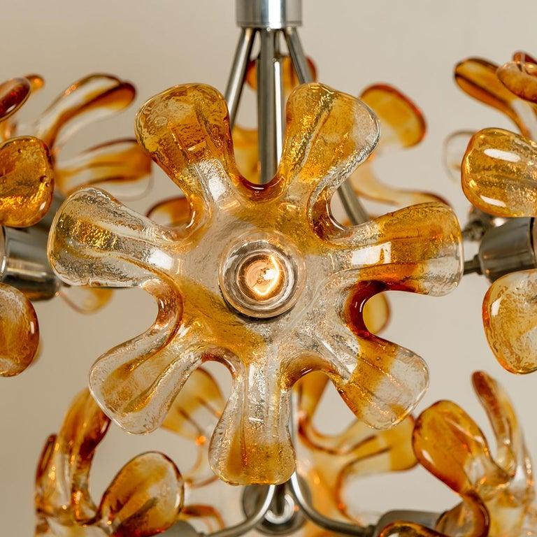 Murano Chandelier Orange Clear Glass, Chrome, by Mazzega, 1960s For Sale 13