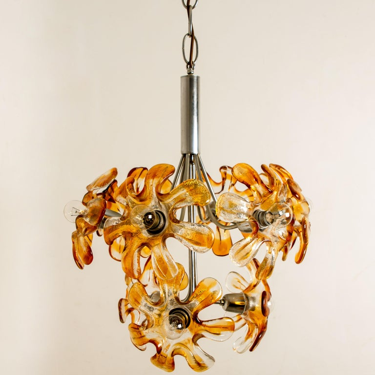 Mid-Century Modern Murano Chandelier Orange Clear Glass, Chrome, by Mazzega, 1960s For Sale