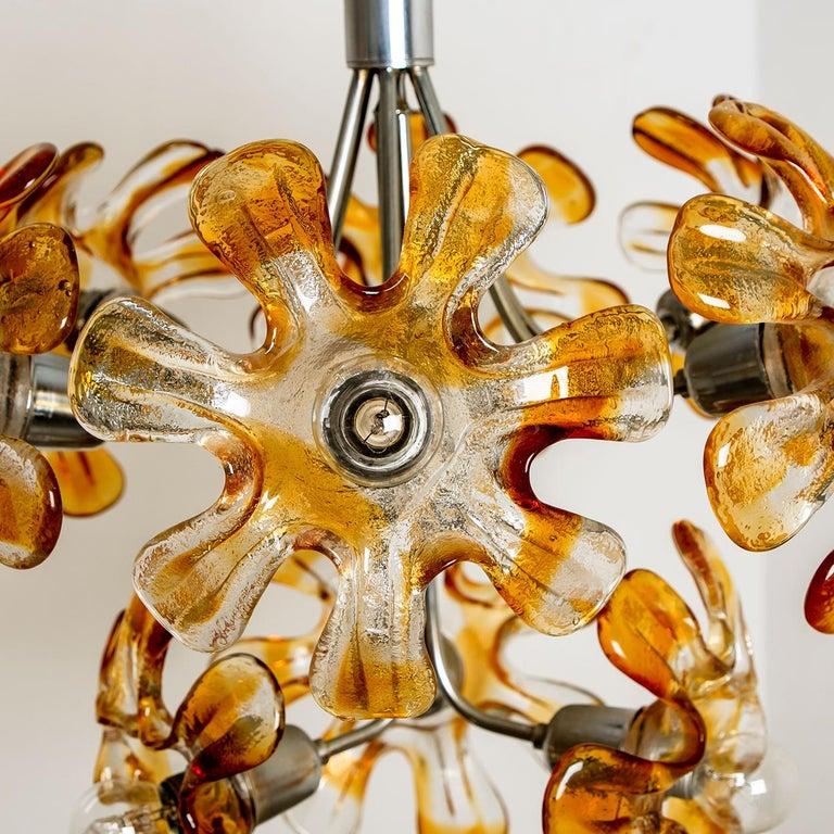 Murano Chandelier Orange Clear Glass, Chrome, by Mazzega, 1960s In Good Condition For Sale In Rijssen, NL