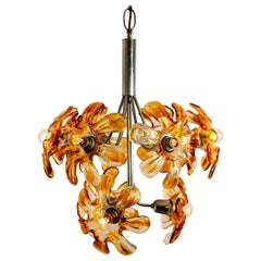 Murano Chandelier Orange Clear Glass, Chrome, by Mazzega, 1960s
