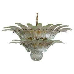 Murano Chandelier Original Palmette, Trasparent Glass
