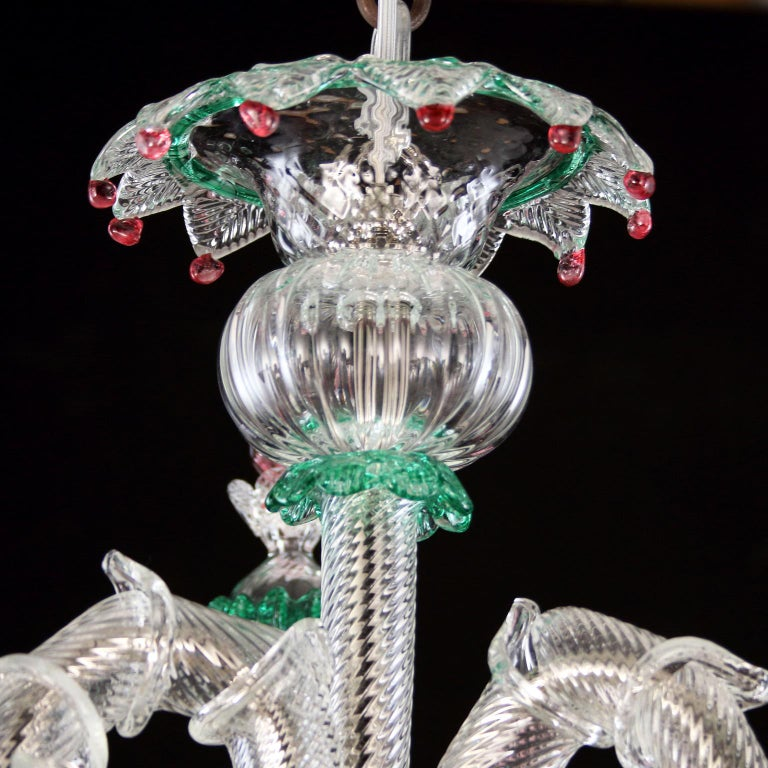 Other Murano Chandelier, Rezzonico 6 Arms, Clear, Gold, Multi-Color Glass, Multiforme For Sale