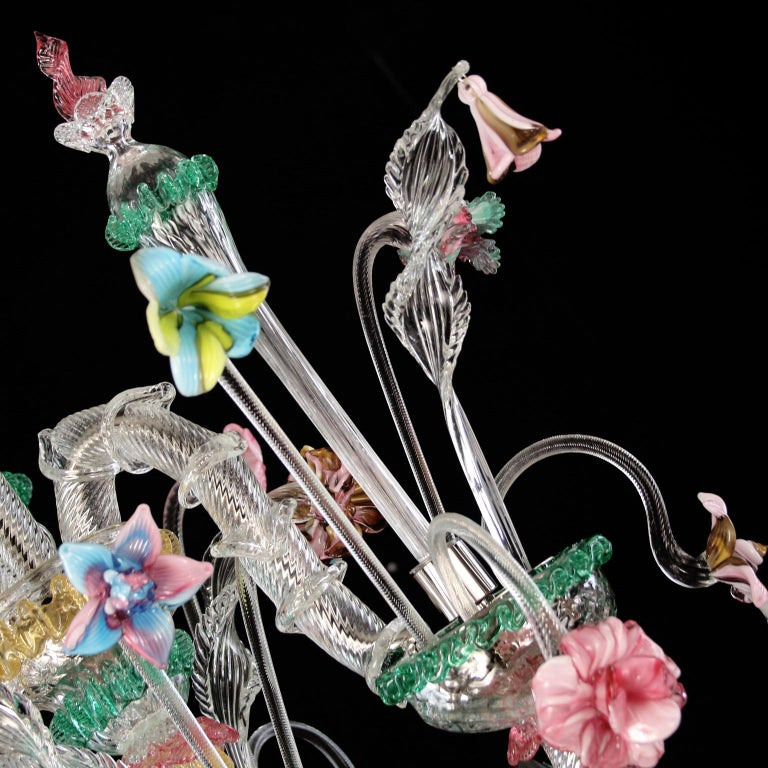 Murano Chandelier, Rezzonico 6 Arms, Clear, Gold, Multi-Color Glass, Multiforme In New Condition For Sale In Trebaseleghe, IT