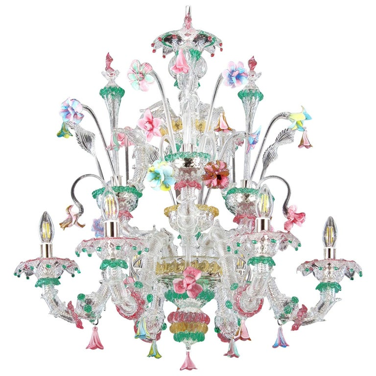 Murano Chandelier, Rezzonico 6 Arms, Clear, Gold, Multi-Color Glass, Multiforme For Sale