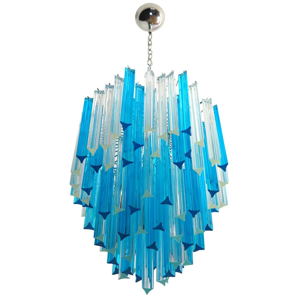 Murano Chandelier Triedri, 92 Prism, Transparent and Blue