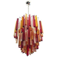 Murano Chandelier Triedri, 92 Prism, Trasparent Yellow and Red Glasses