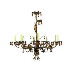 Italian gilt Metal  Chandelier with Murano  Amber Glass Bells