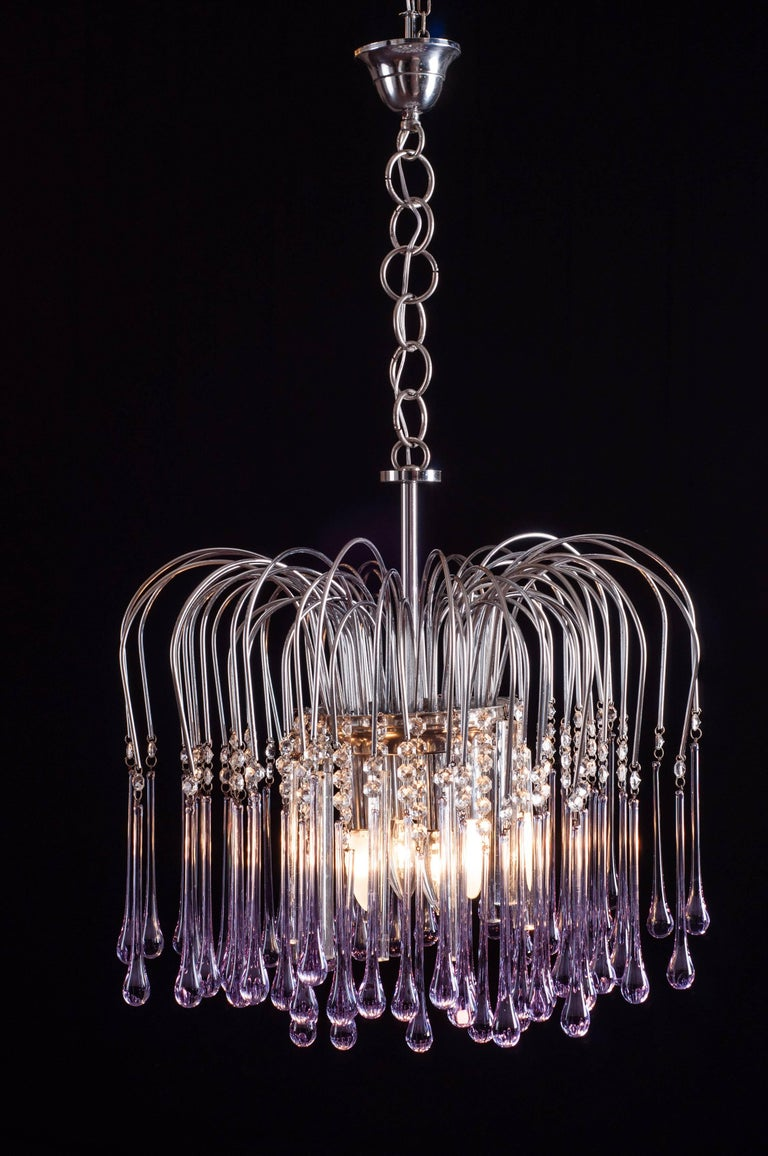Murano Chandelier with Amethyst Color Droplets Venini Style, 1980s For Sale 3