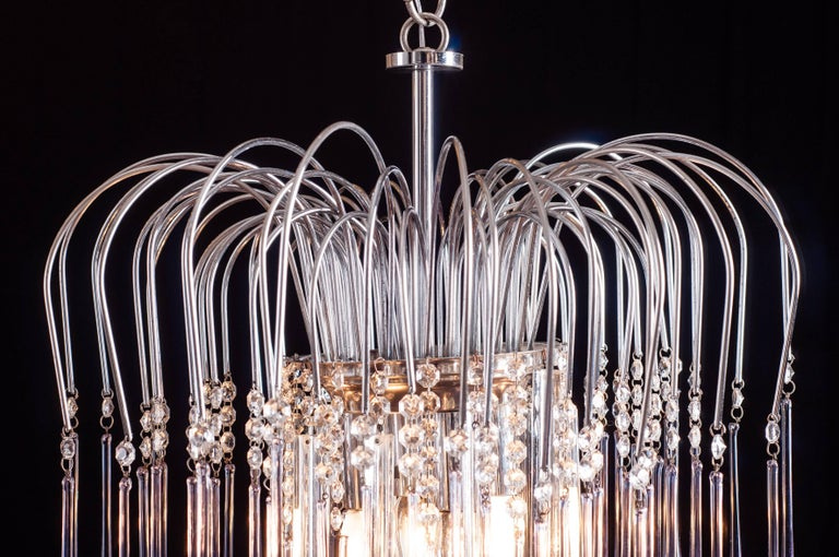 Murano Chandelier with Amethyst Color Droplets Venini Style, 1980s In Excellent Condition For Sale In Rome, IT