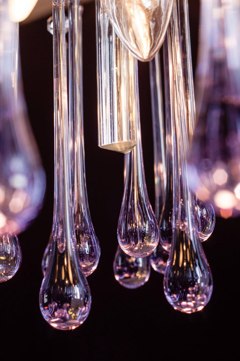 Blown Glass Murano Chandelier with Amethyst Color Droplets Venini Style, 1980s For Sale