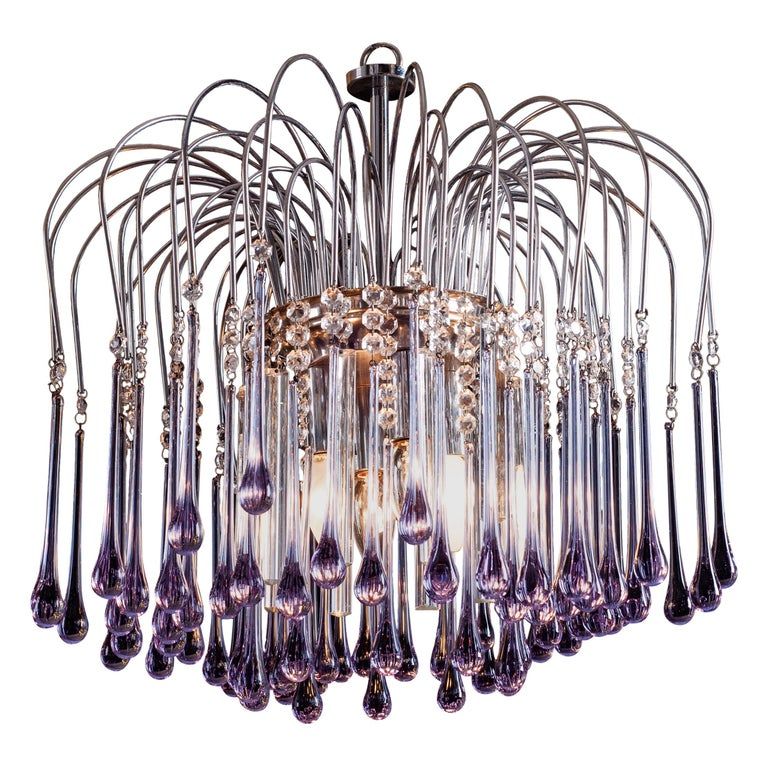Murano Chandelier with Amethyst Color Droplets Venini Style, 1980s For Sale