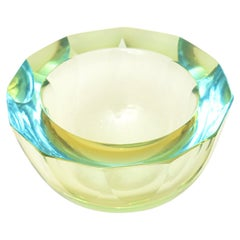 Murano Chartreuse and Turquoise Mandruzatto Faceted Geode Glass Bowl Vintage