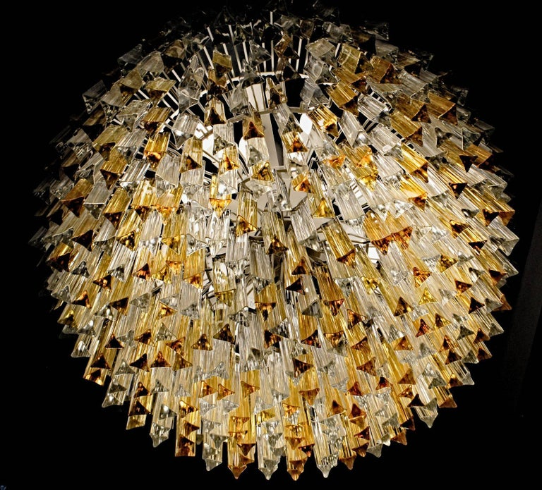 Mid-Century Modern Murano Clear and Amber Glass Triedri Chandelier Flush Mount Also For Sale