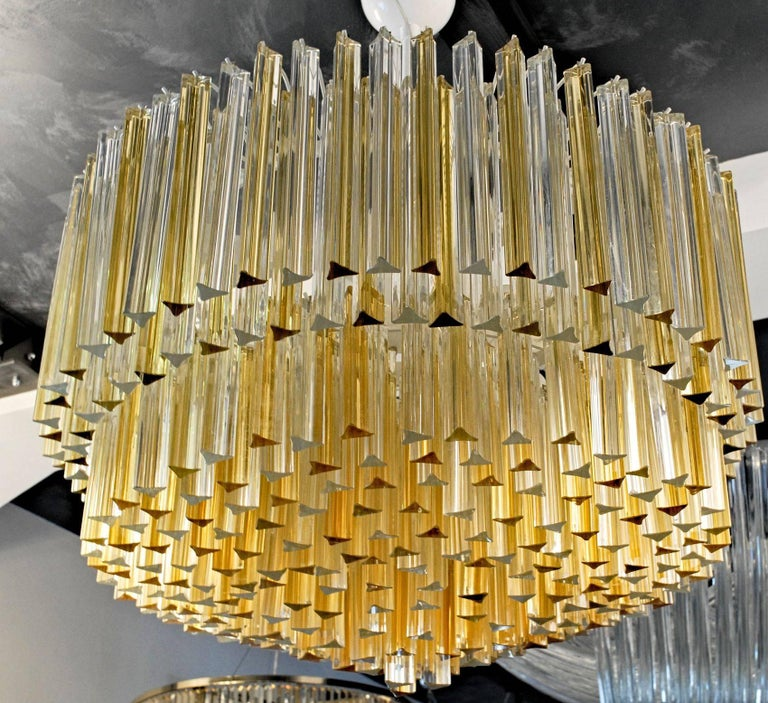 Italian Murano Clear and Amber Glass Triedri Chandelier Flush Mount Also For Sale
