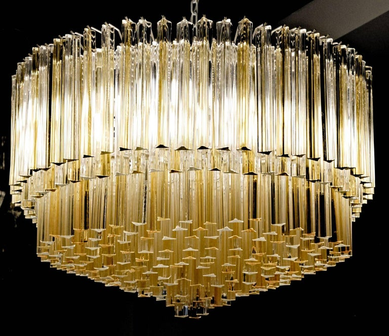 Late 20th Century Murano Clear and Amber Glass Triedri Chandelier Flush Mount Also For Sale