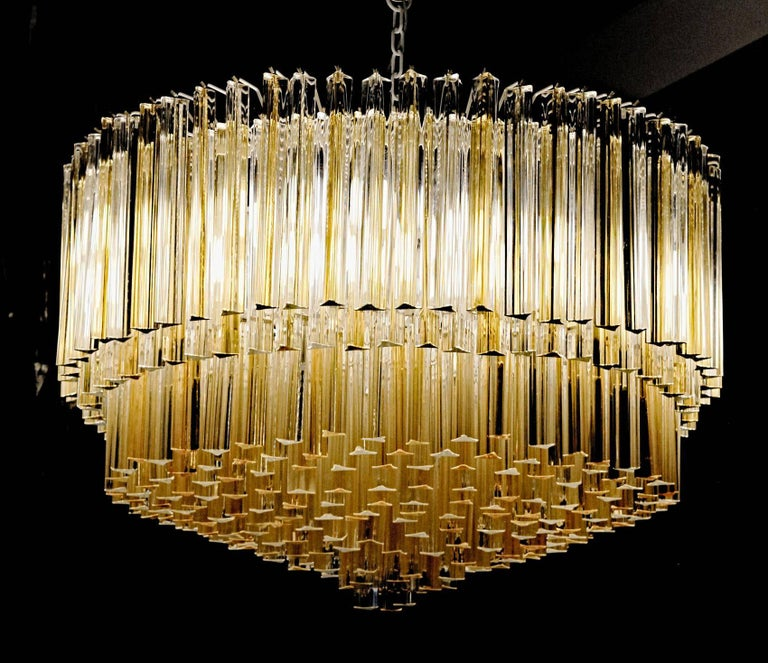 Enamel Murano Clear and Amber Glass Triedri Chandelier Flush Mount Also For Sale