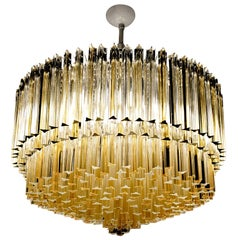 Murano Clear and Amber Glass Triedri Chandelier Flush Mount Also
