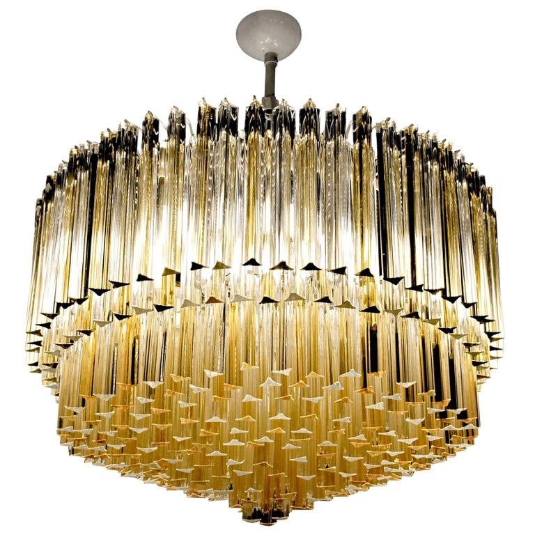 Murano Clear and Amber Glass Triedri Chandelier Flush Mount Also For Sale