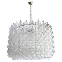 Murano Clear Glass 1980s Tulip Drum Chandelier on Chrome Frame