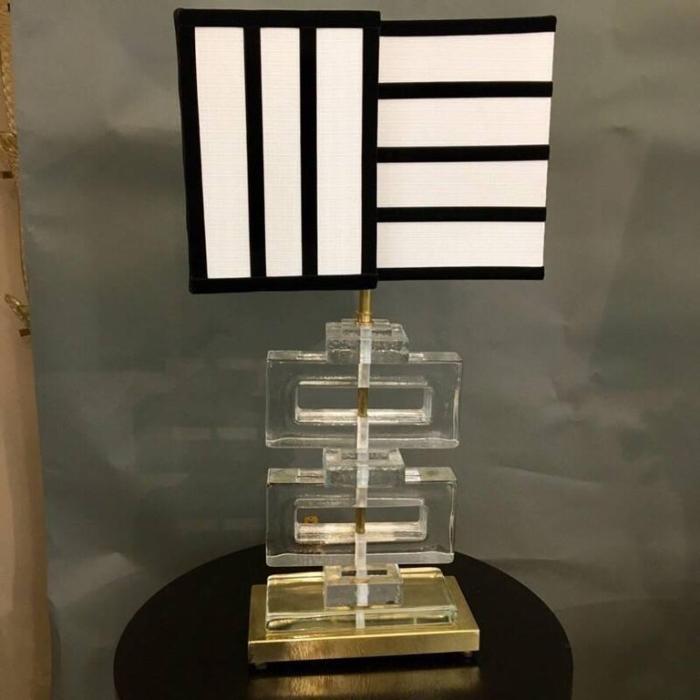 Murano Clear Glass Lamps with Striped Black and White Lampshades, 1970s In Excellent Condition In Florence, IT