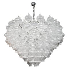 Murano Clear Glass Tulip Chandelier, 1960s