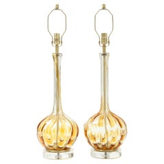 Murano Clear, Honey Gold Art Glass Lamps