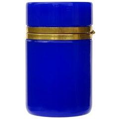 Murano Cobalt Blue Golden Metal Trim Italian Art Glass Vanity Cigarette Jar Box