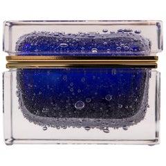 Murano Cobalt Blue Pulegoso Rectangular Box