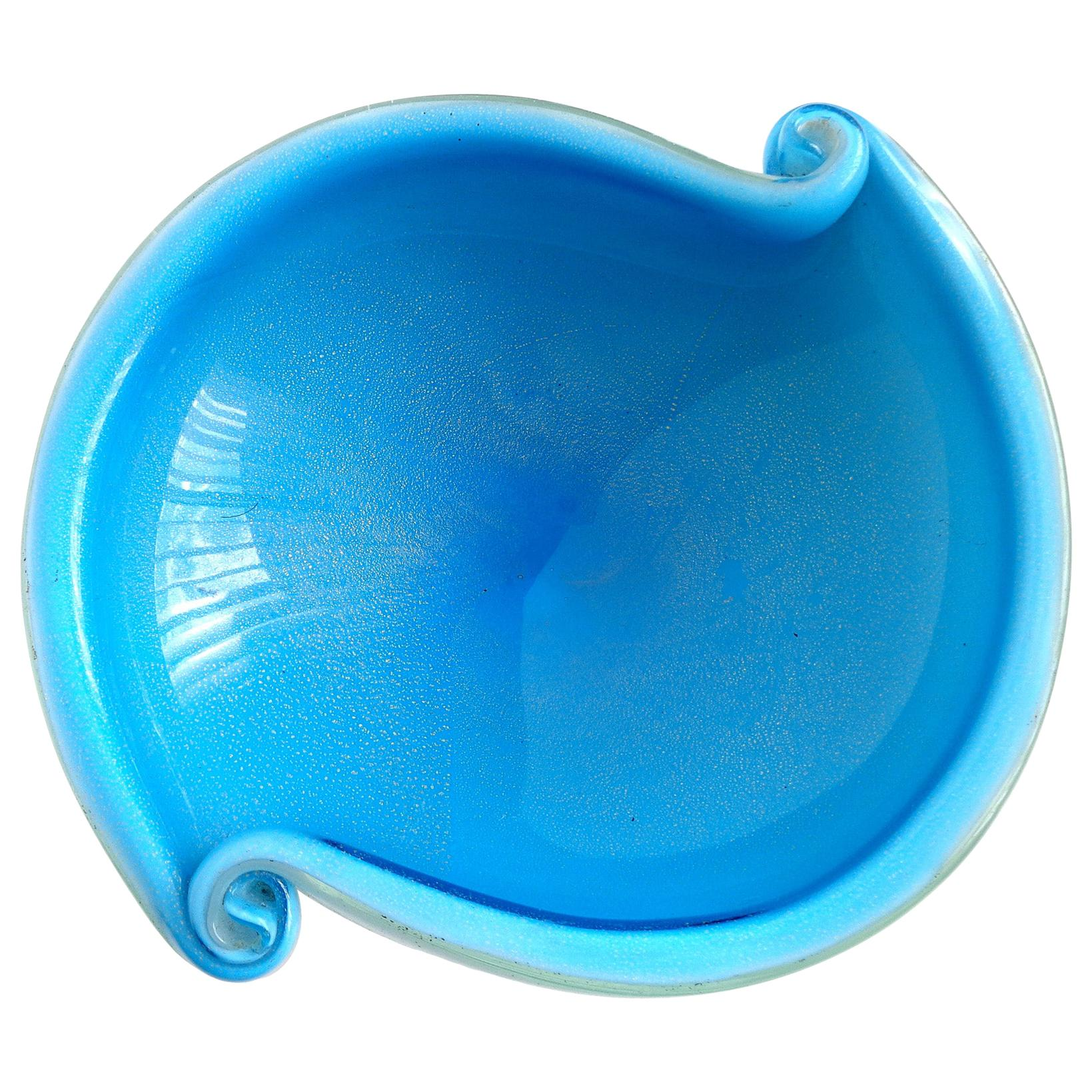 Murano Cobalt Blue White Gold Flecks Italian Art Glass Scroll Shell Bowl Dish