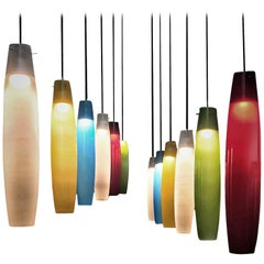 Murano Color Glass Pendants by Alessandro Pianon for Vistosi, Italy, 1960s