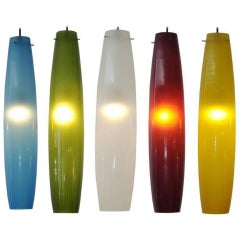 Murano Color Glass Pendants by Alessandro Pianon for Vistosi, Italy, 1960s