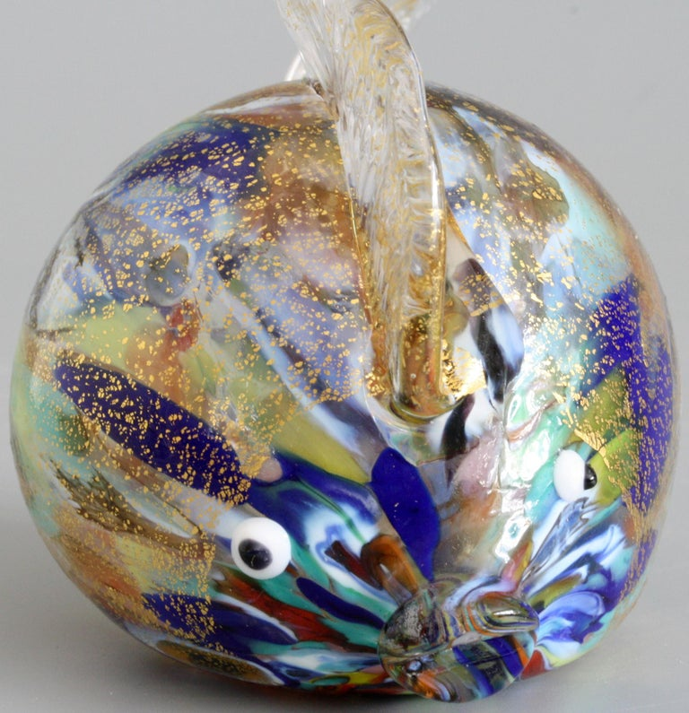 Murano Colored Gold Aventurine Hollow Blown Glass Puffer Fish In Good Condition For Sale In Bishop's Stortford, Hertfordshire