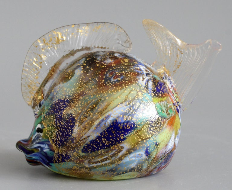 Late 20th Century Murano Colored Gold Aventurine Hollow Blown Glass Puffer Fish For Sale